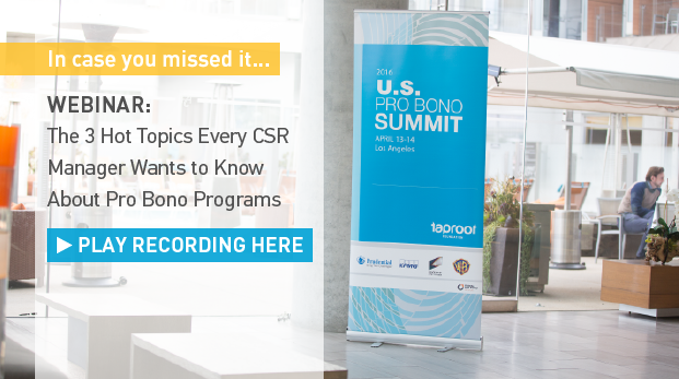 Missed our webinar capturing highlights from the US Pro Bono Summit? Click here for the recording.