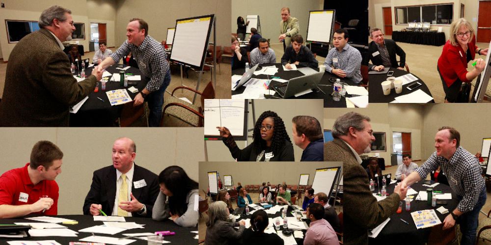 A collage of photos from the 2016 Capital One Speed Consulting event.