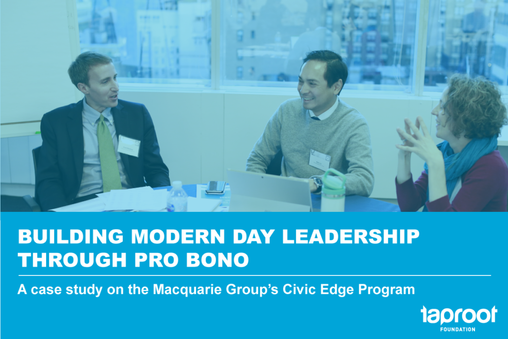 Building modern Day Leadership Through Pro Bono: A case study on the Macquarie Group's Civic Edge Program