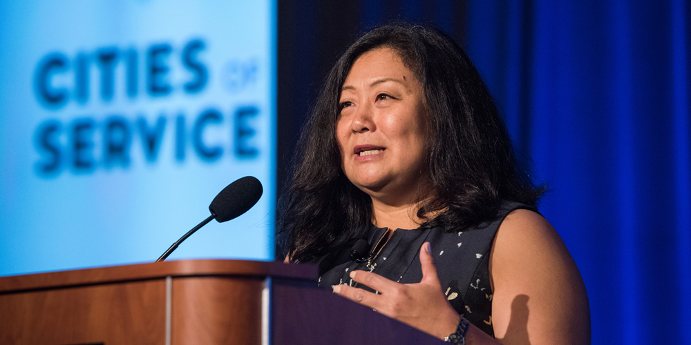 A profile on Myung Lee, Executive Director of Cities of Service and 2019 GPBS keynote speaker.