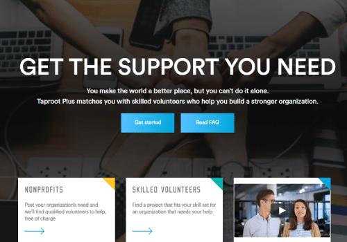 Taproot Plus Nonprofit Landing page