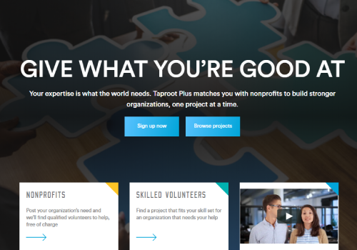 Taproot Plus Volunteer Landing page