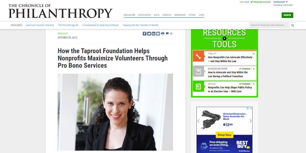 Chronicle of Philanthropy home page