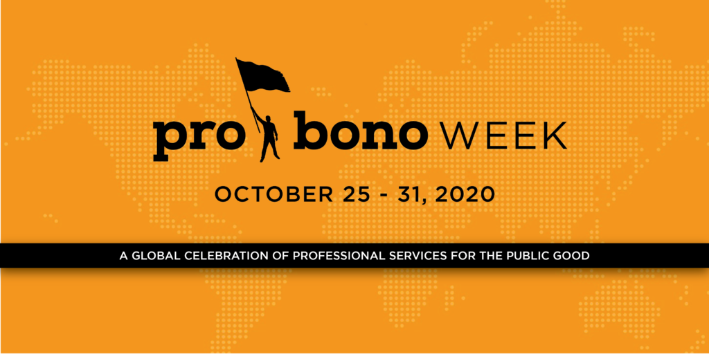 Picture of Pro Bono Week Logo, dates October 25 - 31, Person holding a flag