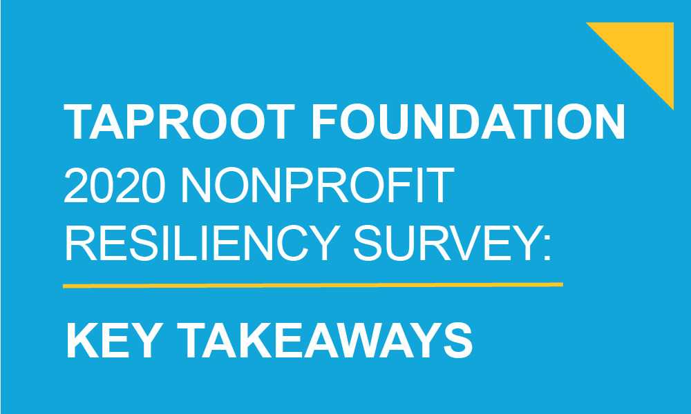 Taproot Foundation 2020 Nonprofit Resiliency Survey text on a bright blue background