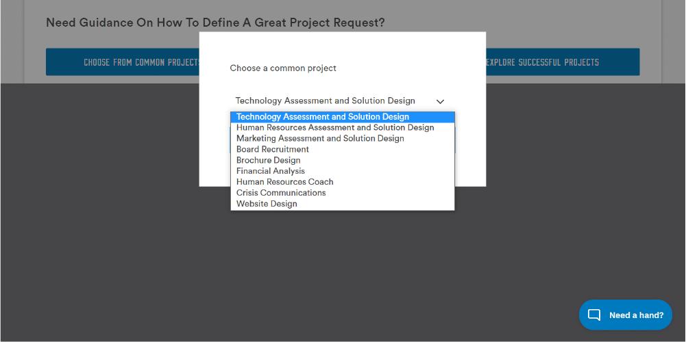 pre scoped project drop-down menu